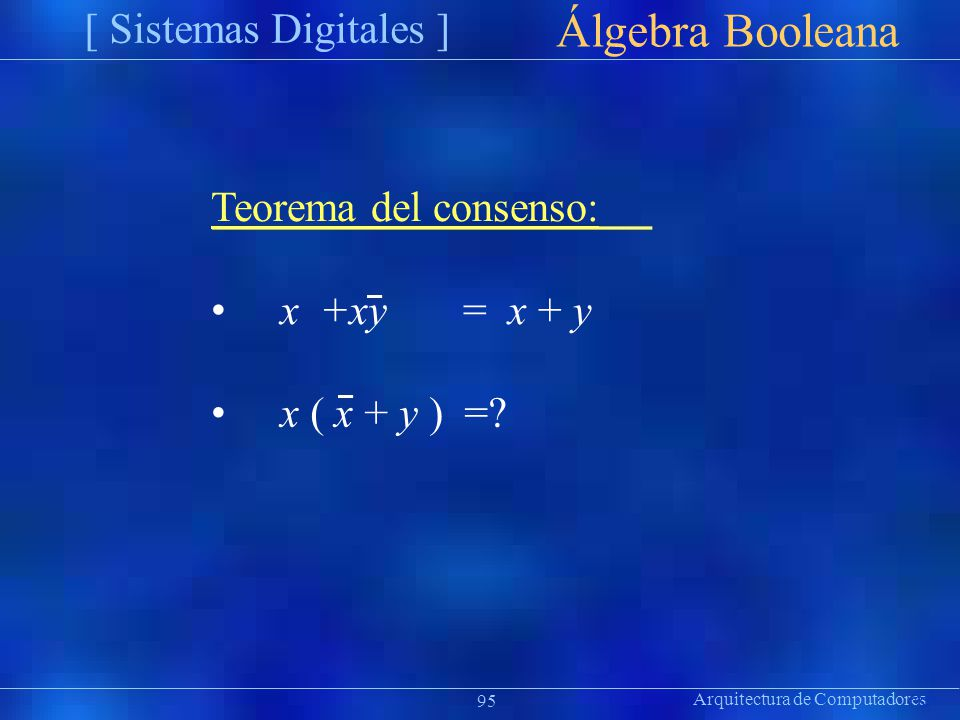 Álgebra Booleana [ Sistemas Digitales ] Teorema del consenso: • x +xy
